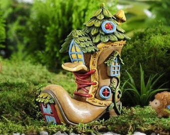 Fairy Garden  - Enchanted Forest Shoe House - Miniature