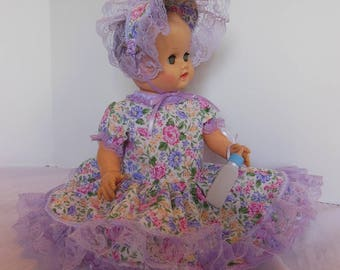 Lilac Floral Print Dress Set for Sun Rubber 17 Inch Bottle Baby Dolls