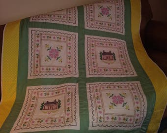 """Cross stitched squares pieced quilt 50"""" X 62"""" handmade Pinklady cottage"""