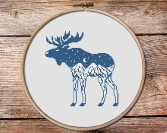 Moose Cross Stitch Pattern, Moose, keeper of the night cross stitch pattern, Elk Cross Stitch, Elk, mountains cross stitch #009