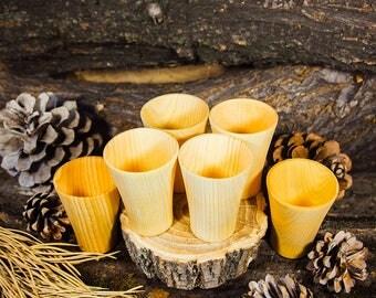 Siberian cedar Set 6 Bar Drink Shot of Siberian Cedar wood Shot glass #R3