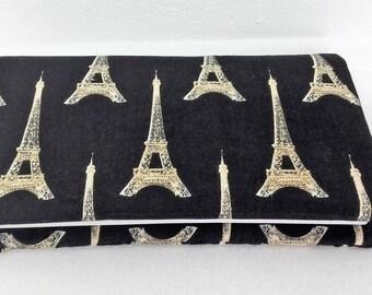 Fabric checkbook cover patterns black Eiffel Tower