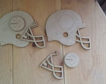 Pittsburgh Steelers helmets - unfinished wood cutouts (set of 2)