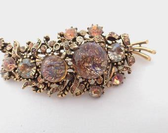 Hollycraft 1958 rhinestone art glass floral brooch AB044