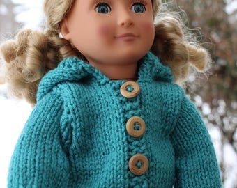 "Doll Clothes - Doll Hoodie - 18"" Doll Clothes - 18"" Doll Hoodie - Hand Knit Doll Clothes - Hat Knit Doll Hoodie - Knit Doll Clothes"