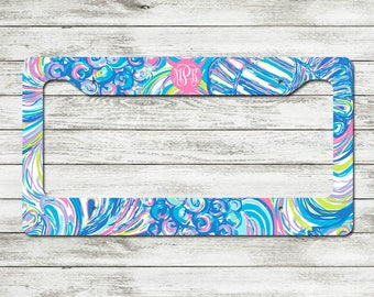 Monogrammed Lilly Pulitzer Inspired License Plate Frame | Personalized License Plate Frame - Choose from over 50 designs!