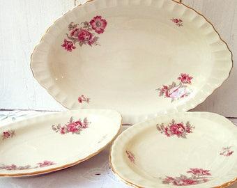 3 Vintage serving dishes, serving dish trio, serving platter