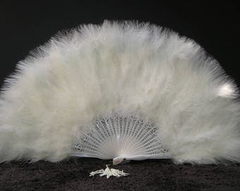 "Marabou FEATHER Fan 12"" x 20"" IVORY (Opens & Closes)"
