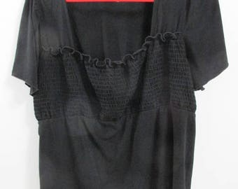 Misses'/Womens' Top, Black,  Size 1X , Gently Used, Vintage, T01