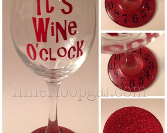 It's Wine O'clock Glittered Bottom Wine Glass With Clock Face