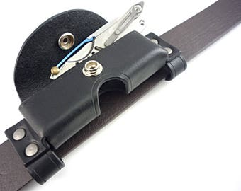 Custom Handmade Horizontal One-Size-Fits-Most Leather Sheath for Pocket Knife or Multitool