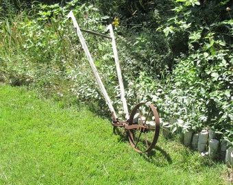 AAFA 19c Primitive Cultivator Stand Behind Plow Garden Decor Cast Iron Wheel *Shipping is NOT included. Ask us for a quote. *