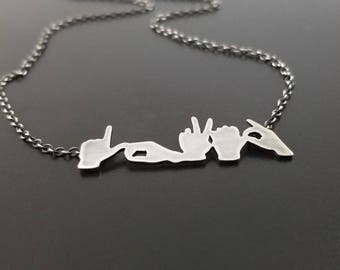 LOVED Sign Language Necklace ~ ASL, sign language gift, sign language jewelry, sterling silver, hand cut