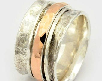 Mens spinner ring, Mens wedding band, Mens fidget ring, Gift for him, Silver and gold Spinning ring, Hammered Spin ring, Anxiety ring