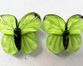 Lampwork butterflies, green lampwork beads by Inna Kirkevich, handmade artisan glass beads, beads for jewelry, set of 2 glass beads