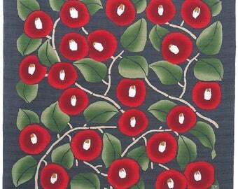 Large Size Furoshiki:  Yumeji Takehisa Design Tsubaki (Red Camellia) in Gray, Japanese durable square cloth/cotton fabric