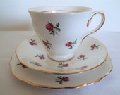 BOTH RESERVED - Punton. Vintage Colclough Teacup and Saucer And Cake Plate with Pink Roses. Pink And White Tea Cup Trio. Pretty Pink Tea Set