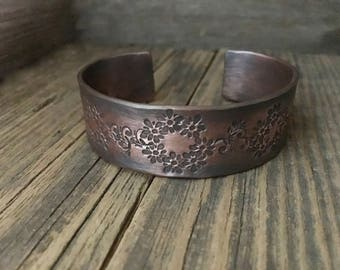 Rustic copper cuff, hand forged thick bracelet, hand stamped design