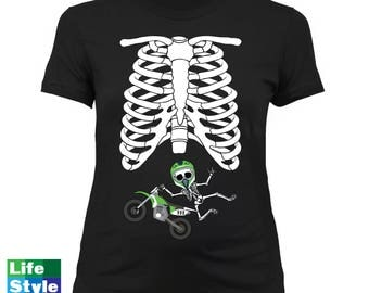 Halloween Maternity Skeleton (Motocross Baby) Skeleton SuperHero Pregnancy Maternity Costume Tee Best Halloween Gift Announcement CT-1324