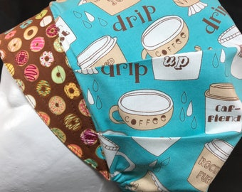 Coffee & Donuts Surgical Cap Bouffant Scrub Hats for Women OR Nurse Tech Surgery Blue Brown LoveNstitchies alli Vet Medical CRNA Chocolate