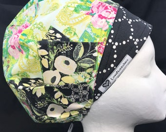 Charcoal Floral LoveNstitchies Surgical Cap Scrub Hats Bouffant Caps OR Nurse Tech XRay First Physician Assistant Surgery Hat Green Pink AG