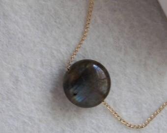 Blue Gray Labradorite and 14k Gold Fill