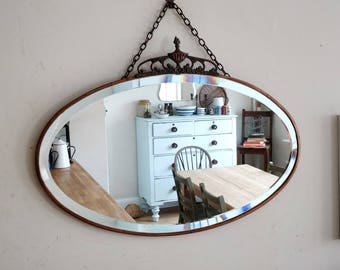 mirror on chain. vintage mirror. antique mirror. wall mirror. hanging mirror. copper mirror.(1290)