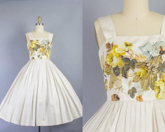 1950s Floral Cotton Dress/ XS (30B/23W)