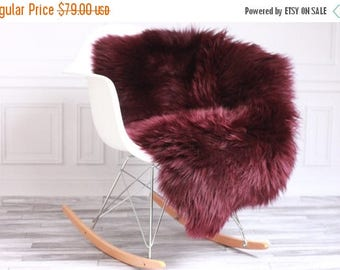 ON SALE Burgundy Sheepskin |  Sheepskin Rug | Plum Decoration  | Purple Sheepskin | Vine Throw  | Vine sheepskin