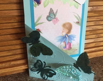 "Custom, handmade, embossed and embelished ""Just A note""  Fairy greeting card with envelope"