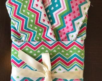 Pink Chevron Oversize Swaddle Blanket and Burp Cloth Set