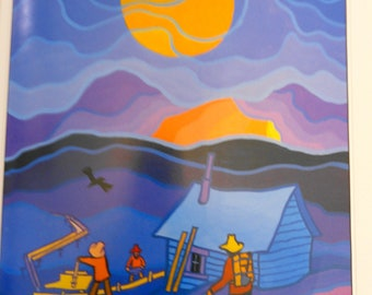 Ted Harrison Illustrations from The Cremation of Sam McGee Gold Miners at Night