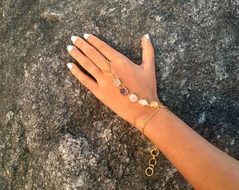 Multi Semi Precious stones/ Gold plated / hand chain / gift for her