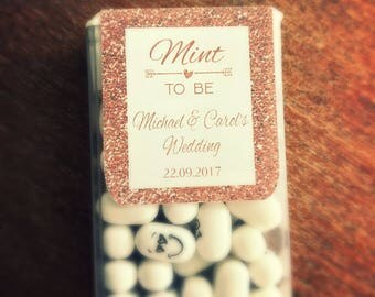 Rose gold mint to be stickers for tic tacs wedding favours
