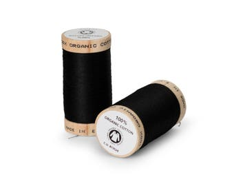 Black Organic Cotton Thread 300 yards-  Eco-Friendly Thread - 100% Organic Cotton Thread