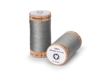 Gray Organic Cotton Thread 300 yards-  Eco-Friendly Thread - 100% Organic Cotton Thread
