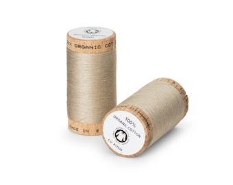 Wheat (Tan) Organic Cotton Thread 300 yards-  Eco-Friendly Thread - 100% Organic Cotton Thread