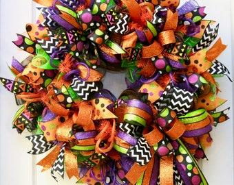 Halloween Wreath, Halloween Decor, Deco Mesh Halloween Wreath,  Halloween Decoration, Fall Wreath, Front Door Wreath, Halloween Mesh, orange