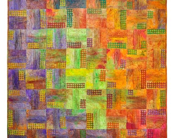 Art quilts wall hanging, abstract quilt Colorful patchwork art living room decor, wall decor, fiber art crazy quilt, quilts for sale