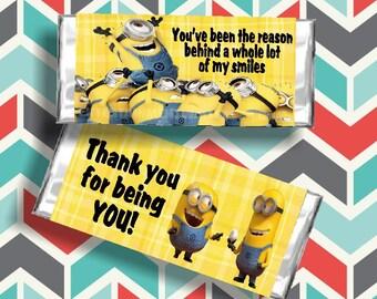 Minion Thank You Candy Bar Wrapper Printable
