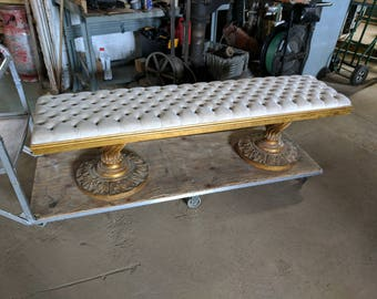 Antique Gold Painted Tufted Bench