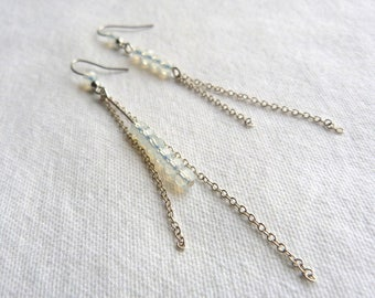 Opal beads and silver brass earrings