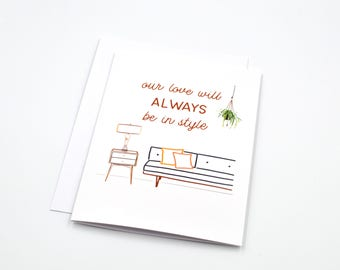 cute valentines day card - funny love card - funny anniversary card - hipster card - trendy card - soulmate - paper goods - mid century art