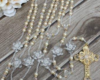 FAST SHIPPING!! Beautiful Gold Wedding Lasso with Pearls and Swarovski,  Cristian Wedding Lasso,Pearl Wedding Lasso,  Wedding Lasso