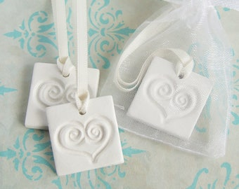 Wedding Favour/Gift Tags, White Clay Party Favour Tags, Clay Heart Hanging Ornament,Party Decoration,Heart Memento,Keepsake, Handmade Gift
