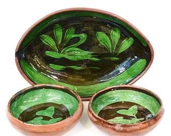 Vintage Set of 3 Patamban Michoacan Mexican Pottery Bowls - FREE SHIPPING