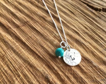Silver Initial Charm necklace with Semi Precious Stone