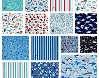 Shark Ocean Waves Sea Creatures- Custom Baby Boy Bedding-Crib Set curtains crib skirt crib sheet baby girl quilt valance rail guard Blue red