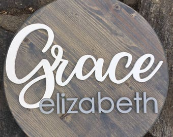 "15"" Wood Circle Sign / Custom Made Name Round Sign / 3D Name / Nursery Name Sign / Wood Decor / Wedding Gift"