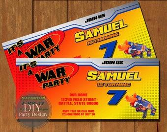 Nerf Ticket Birthday Invitation  * Digital File only * You Print